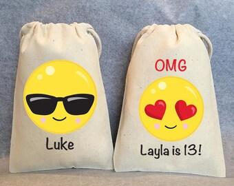 "5- Emoji Birthday, Emoji party, Emoji party supplies, Emoji party favors, emoji favor bags, emoji party favor bags- emoji- 5""x8"""