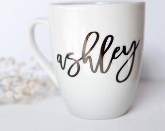 Personalized Name Mug, Bridesmaid Gifts, Engagement Gift, Bachelorette, Gifts under 20, Birthday, Wedding, Gifts for Her