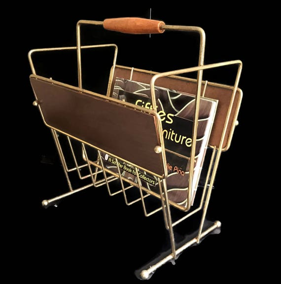 mid century wire magazine rack gold chrome and fiberboard with. Black Bedroom Furniture Sets. Home Design Ideas