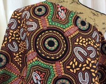 Australian Fabric--Aboriginal Fabric--Aboriginal Art--Cotton Fabric--Ethnic--Sacred Women's Song Brown--Australian Fabric by the HALF YARD