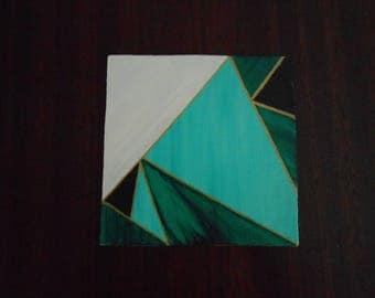 Green #2, Mini Geo Acrylic Painting, 6x6, Unframed