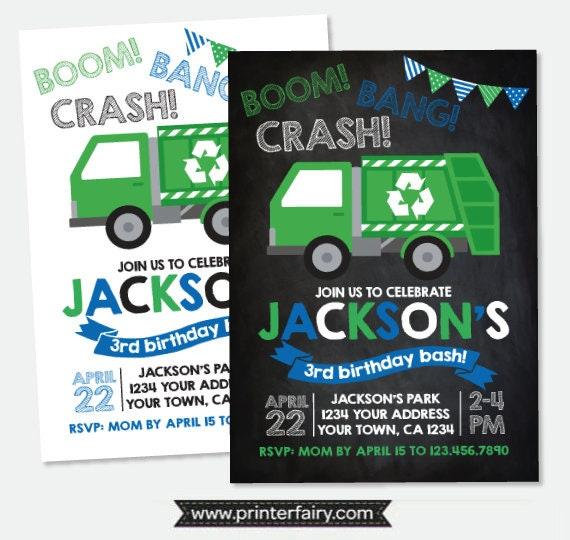 Garbage truck invitation trash truck birthday party recycle il570xn filmwisefo