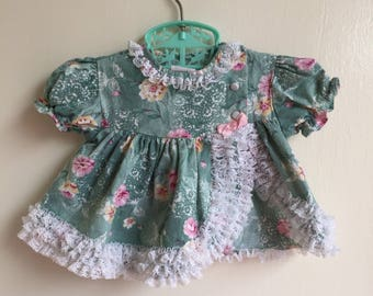 Vintage Jo Lene Baby Girl Dress Green Pink Flowers Sz 0/6M