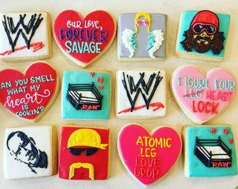 Wrestling valentines cookies