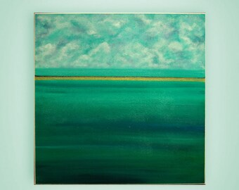 """Green Painting, Acrylic Painting, Contemporary Art , Landscape Painting by M.Schöneberg """"Golden Sunset"""" 28x28x0,75"""