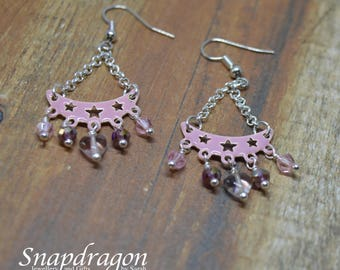 Pink chandelier earrings with glass crystal droplets