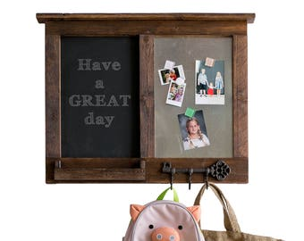 Message Center with Chalkboard, Magnet Board, Mail Shelf, and Key Hooks