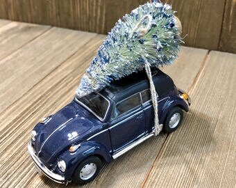 VW Bug  Silver Blue with Christmas Tree.  Diecast Model 1:43.