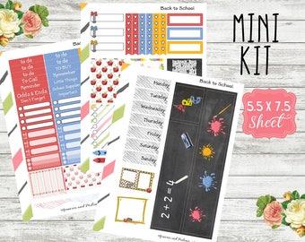 Back to School Mini Kit - School Planner Stickers - Weekly Planner Sticker Kit - Planner Sticker Mini Kit - School Sticker Kit