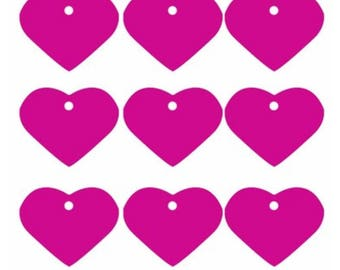 Heart medal Aluminum Pink bright fuchsia engraving stamping 33 x 37 mm id tag