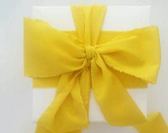 """Sunshine Yellow Ribbon. 3"""" Wide Luxury Ribbon. Hand Torn and Frayed Crepe De Chine Ribbon. 3 Meters. Wedding Bouquet Ribbon. Gift Wrap"""