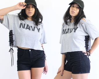 Vintage Lace Up T-shirt, Lace Up Crop Top, Brandy Melville Top, 90s Logo Lace Up Tee, Reworked T-shirt, Distressed Lace Up T-shirt, Size L