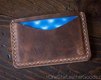 Three Pocket Flat Wallet - distressed brown Horween leather