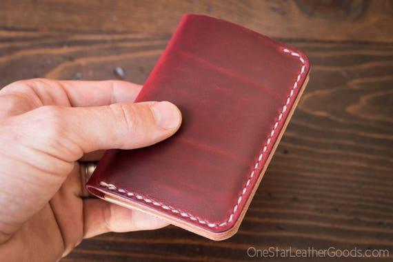 6 Pocket Vertical Wallet, Horween Chromexcel - red
