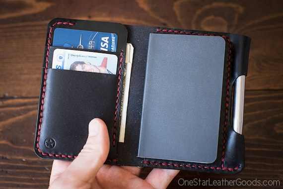 "Small notebook wallet and pen ""Park Sloper Junior"" bridle leather - black/red"