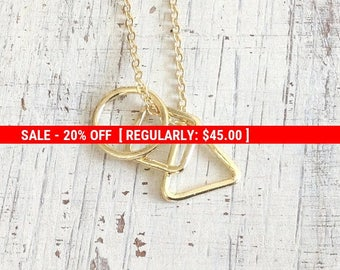 SALE 20% OFF long necklace,layering necklace,gold triangle necklace,everyday necklace, long gold necklace, geometric necklace,gift for her