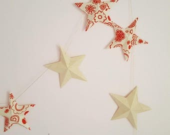 "The ""12 magic stars"" paper Garland in red flowers"