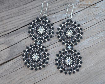 Lace earrings, seed beads earrings,