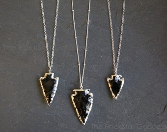 SALE / Silver Obsidian Necklace / Arrowhead Necklace / Black Obsidian Necklace / Raw Obsidian Necklace / Obsidian Necklace / Mother's Day Gi