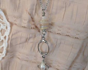 Handmade vintage button and key necklace