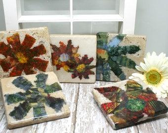 Individual Natural Stone Coasters, Travertine Stone Coasters, Unique Coasters, Gift for Her, Wedding Gift, Housewarming Gift, Hostess Gift
