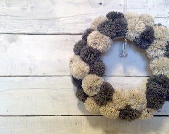 Pom Pom Wreath | Yarn Wrapped Wreath | Holiday Wreath | Indoor Wreath