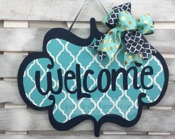 Summer Door Decor: All Season Door Hanger Seasonal Door Sign Wooden Door Hanger Welcome Sign (Bahama Blue Navy Blue)