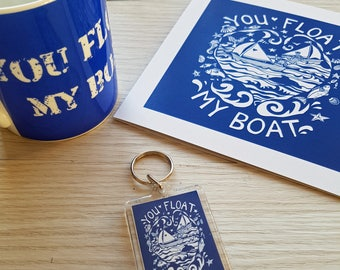 """Special Valentine's gift set offer on our best selling """"You float my boat"""" design, mug, key ring and card."""