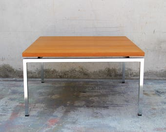 Teak & Chrome Floating Square Coffee Table Florence Knoll Style Mid Century Minimal Modern
