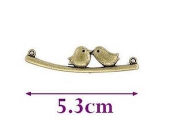 Set of 10 birds on branch connectors, bronze, 5.3 cm