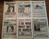 Harry Potter Daily Prophet Newspaper Headlines DIGITAL DOWNLOAD PRINT 5-Pack Snape Dumbledore Hogwarts Ministry of Magic Voldemort Printable