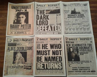 Harry Potter Daily Prophet Newspaper Headlines DIGITAL DOWNLOAD PRINT 5-Pack Snape Dumbledore Hogwarts Ministry of Magic Voldemort Printable
