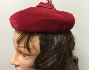 Red velvet vintage hat