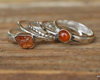 Naturtal Garnet Ring. Spessartite Garnet. Rough Gemstone Ring. Sterling Silver Ring. Raw Gemstone Ring. Stacking Rings. January Birthstone