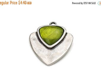 10% OFF Geometric Pendant w Olivine Resin Bead - Antique Silver - Zamak - Qty. 1