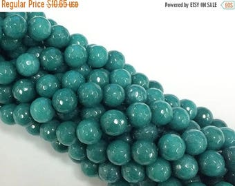 """25% OFF 10mm  Emerald Green Jade Faceted Round, Lush Meadow Green, Gemstone Beads Full Strand 15"""" strand 38 Beads - SJA115"""