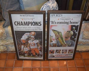 FREE SHIPPING 2  Set Clemson University rare framed original complete newspapers solid cedar 2016 NCAA Football Champions