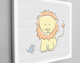 Baby Lion with Blue Bird Nursery Canvas Wrap, Yellow Lion Print, Kids Animal Art, Nursery Animal Canvas, Animal Canvas Wrap, Lion Canvas Art