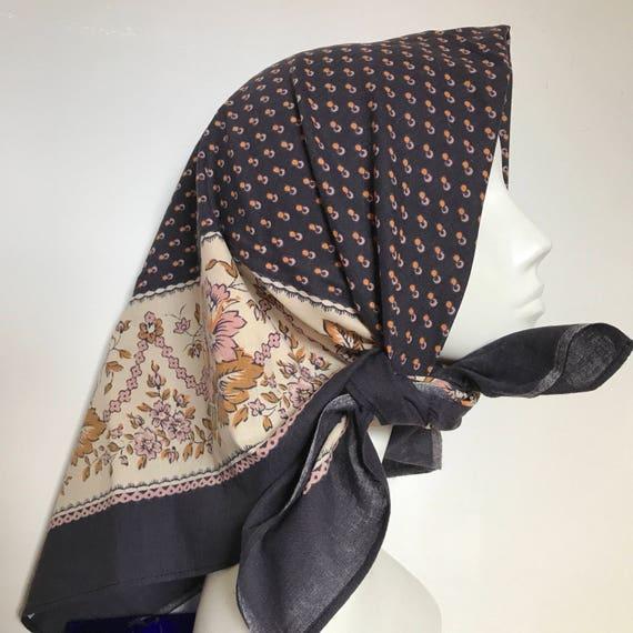 Large cotton scarf spotted bohemian floral print vintage cotton scarf square navy blue cotton chintz prairie bohi design 1940s turban