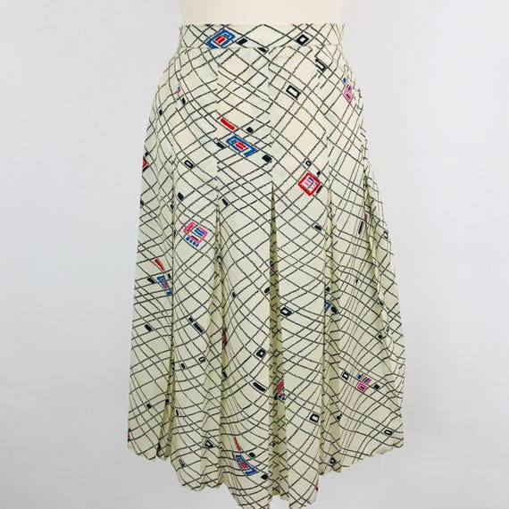 Vintage skirt summer polyester checkered pleated skirt classic twin peaks pin up UK 12 high waisted sexy secretary 1940s style cream 1950s