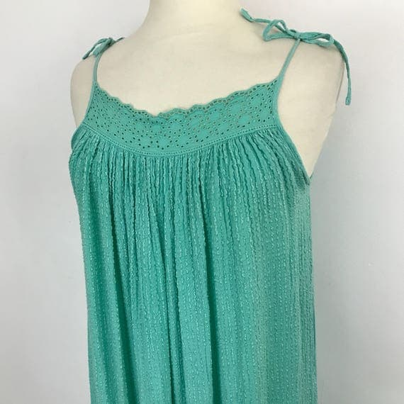 1970s vintage cheesecloth dress muu muu aqua green dress trapeze triangle smock cotton lace detail beach vacation trapeze boho hippie UK 12