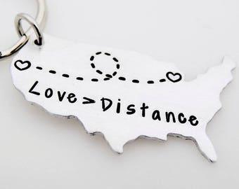 Greater than distance, Handstamped Keychain, Long distance, Going away gift, ldrship, long distance family, long distance friends,Miss you
