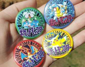 Pocket Monsters Original Box Art Pinback Buttons Lot of 4 1.5"