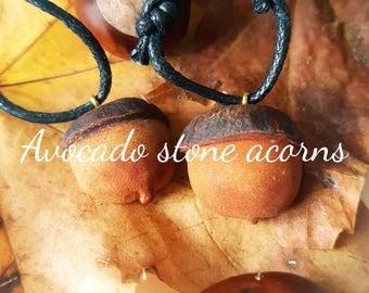 Carved acorn necklace - avocado stone