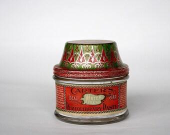 Antique Paste Jar - Vintage Paste Jar - Carter's Ink Photolibrary Water Well Paste Jar - Vintage Glass Jar with Metal Lid -Antique Packaging