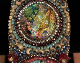 Shannon - Bead embroidery cuff with dichroic glass