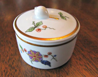 Richard Ginori Oriente China, Fine Italian Porcelain Ring Box, White with Gold Band, Florals with Gold Trim, Vintage Decor, Trinket Dish