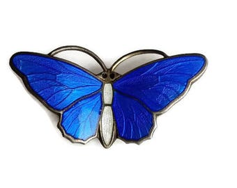 Sterling Blue Enamel Butterfly Pin, Detailed Wings, Guilloche Enamel, Norway Sterling, Marked with  hallmark of Aksel Holmsen and 925 S