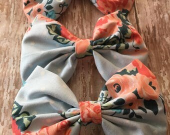 Baby Blue and Peach Floral Print Bow, Girls Bow, Toddler Bow