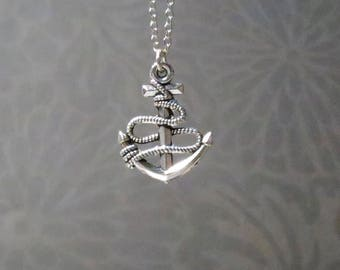 Silver anchor necklace-anchor charm-anchor pendant-Anchor necklace-choose your length-steampunk-nautical-pirate gift-gift for her
